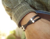 Free Shipping. Men's Leather Bracelet: Genuine Black Leather, Silver Sliders with Magnetic Clasp.