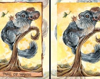 Chinchilla Print, Nursery Wall Art, Page of Wands Tarot Card, Animal Decor, Yellow & Gray, Animism Tarot, Pet Memorial Gift, Wildlife Poster