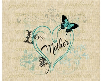 Mothers Day instant clip art aqua butterfly Digital download image for iron on fabric burlap transfer decoupage card tote bag  No 2117