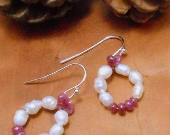 Small Pearly Ruby Wreath Earrings-Pearl Earrings-Precious Gem Ruby EarringsHeart Jewelry-Valentine's Day