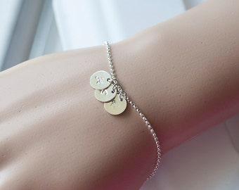 3 Initial  Silver Bracelet, Initial Bracelet, Dainty Silver  Bracelet, Initial Bracelet, Personalized jewelry, bridesmaid gifts,