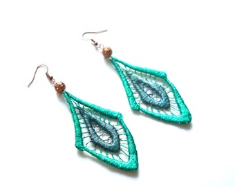 Forest Green Ombre Geometric Lace Earrings