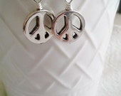 CUSTOM Listing for Monika --Antique Silver Peace Sign Earrings  Wire Wrapped Earrings  Wire Wrapped Jewelry Handmade Jewelry