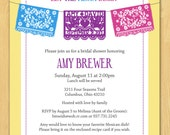 Mexican Papel Picado Fiesta Bridal or Baby Shower Invitation Your Choice Colors