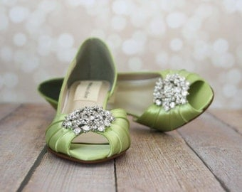 Wedding Shoes -- Spring Green Peeptoe Wedding Shoes with Silver Rhinestone Adornment