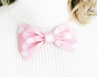 Pink polka dots bow brooch. Pastel pink dots spring. DOTS pink. Girls bows brooch. Minie hair clip. Ready to ship