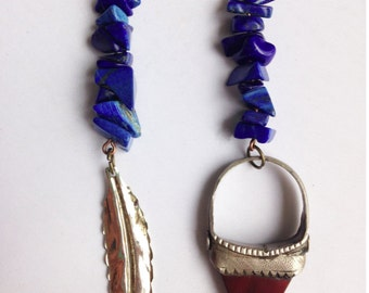 Lapis Lazuli Asymmetrical Mismatched Dangle Earrings