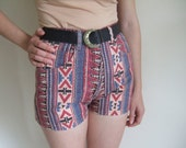 Vintage 80s aztec print denim shorts high waisted with belt UK 8 10 Small