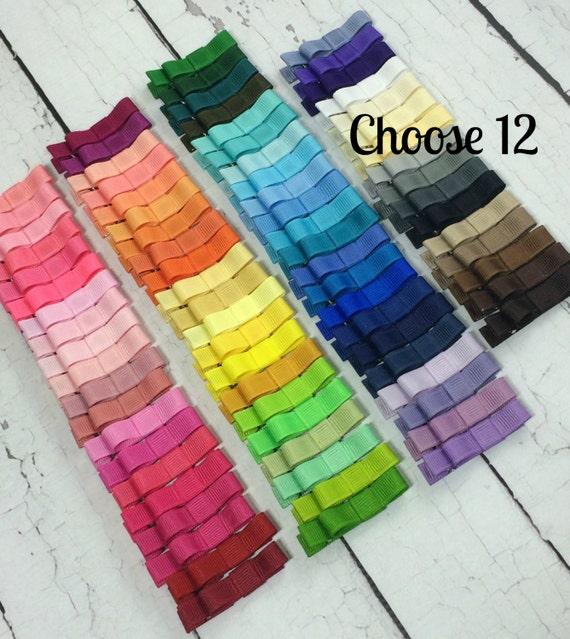 Girls Hair Clips, 12 Tuxedo Alligator Clips, You Choose From 77 Colors, Starter Set, Babies Toddler Girl Women