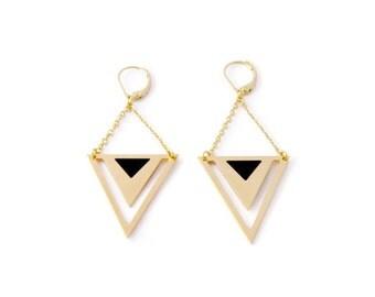Earrings Pythagore, brass, gold plated 24k, enamel