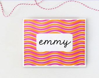 Custom Stationary Personalized Stationery Pink and Orange Note Cards Bridesmaids Gift Colorful Stationery Custom Hostess Gift  - Set of 10