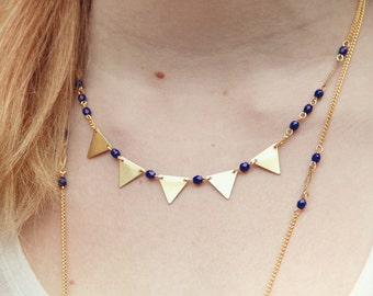 Bunting necklace, dark blue necklace, triangle banner necklace, geometric jewelry, triangles necklace
