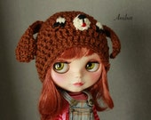 Hat for blythe, Ami Doggy cap brown, cute dog puppy helmet for your blythe doll hand crochet