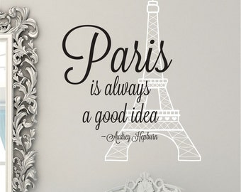 eiffel tower wall decal audrey hepburn quote eiffel tower decor