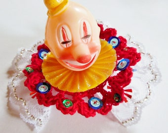 Circus Clown Hair Clip Red and Yellow