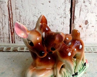 Deer bank Mother deer and baby deer ceramic bank vintage penny bank