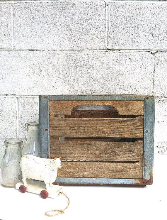 milk crate as is industrial wood and metal milk crate. Black Bedroom Furniture Sets. Home Design Ideas