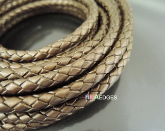 Leather Cord 6mm - Metallic Brown Round Braided Bolo Genuine Leather Cord ( Hole Inside )