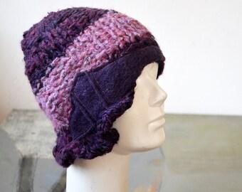 Bordo, lawender thin knit cloche, retro chic ,soft wool, acrilic, violet, felted wool decoration, ooak woman beanie hat unique  fashion 168
