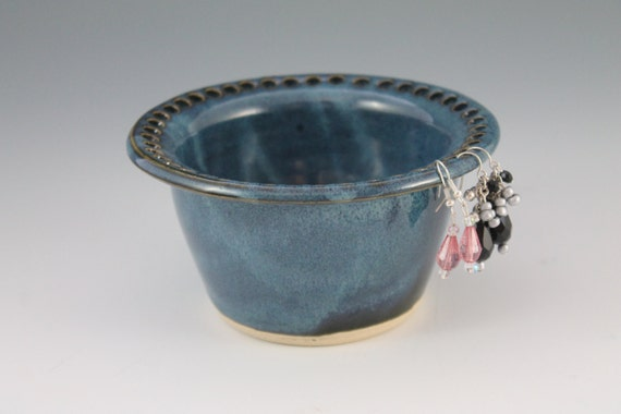 Blue Earring bowl - jewelry holder - ceramic earring holder