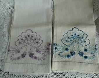 2 Vintage Embroidered Linen Towels Blue and Lavender Floral