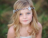 Stars and Berries Hair Crown. star headband, Winter. Silver. Gold, Stardust, Twinkle, holidays, new years, flower girl