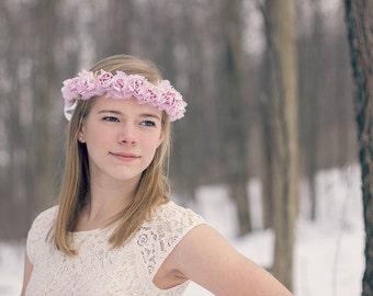 Pink Rose Floral Crown, flower crown, Woodland, flower girl, spring, bridal headpiece, Weddings, Bridal Crown, bridesmaids- CAROLINE