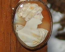 SALE Antique Cameo Large Hand Carved Edwardian Carnelian Shell, in Gold Plating with upswept Tootsie Curls , Pendant or Brooch.  Only 112.50