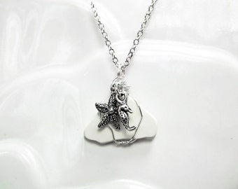 White Sea Glass Necklace Women's Gift Beach Jewelry Glass Starfish Necklace Mom Sister