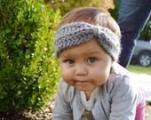 Baby Turban Headband- Baby Earwarmer- Grey- Gift Idea- Fall Fashion