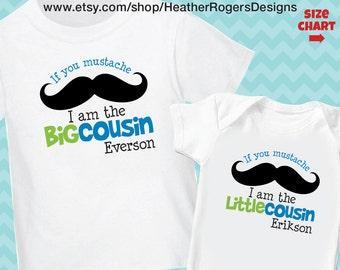 Mustache Big Cousin Shirt or Bodysuit (BOY) - I am going to be a Big Cousin Shirt - Personalized Moustache Pregnancy Announcement Shirt