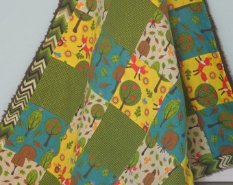 modern patchwork baby blanket keepsake quilt - the Fox and the Woodland Forest - yellow, orange, green, brown, cream, red, blue