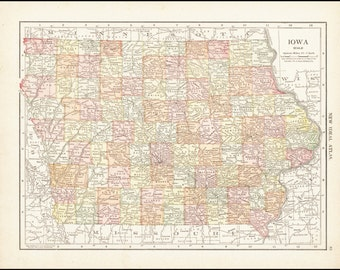 Iowa, Map of Iowa Counties, 1911 Antique & Colorful Illustrated 11x14 State Map (Reverse Side: Full-Page Missouri Map) No. 85-86