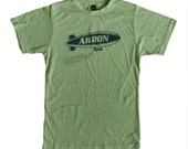 CLEARANCE: SUPER SOFT Vintage Feel Unisex Heather Green Tee - Akron Ohio Blimp in Blue