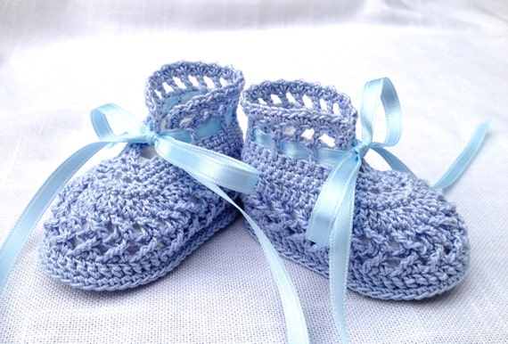 Cotton Crochet Baby Shoes Pattern : Crocheted Baby Booties Cotton Crochet Shoes Blue with Satin