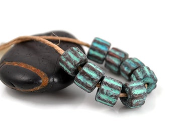 Mykonos Fluted Tube - Green Patina - 9x7mm - Greek Ceramic Beads