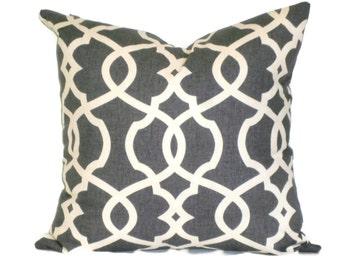 Scroll Lattice Decorative Pillow Accent Pillow 18x18 20x20 22x22 or 14x20 Lumbar Pillow Throw Pillow Toss Pillow Pewter & Cream