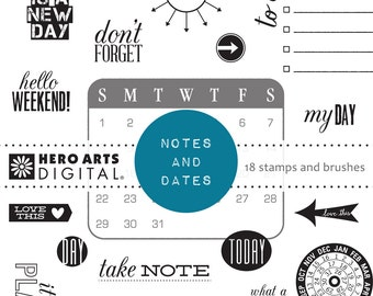 Hero Arts Notes and Dates DK106  Digital Kit Instant Download