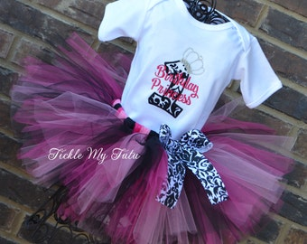 Damask Princess Birthday Tutu Outfit-Elegant Princess Damask Birthday Outfit-Dark Pink and Black Damask Princess Party Outfit