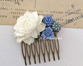 White Wedding Comb Cornflower Blue Periwinkle Gray Bridal Hair Accessories Big Rose Rustic Head Piece Shabby Chic Boho Vintage Inspired WR