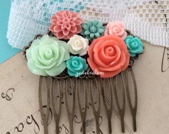 Mint Green Coral Wedding Hair Comb Teal Aqua Orange Peach Bridal Head Piece Hair Pin Flower Slide Gift Peach Orange Floral Hair Accessories