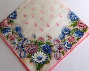 Something Old Vintage Wedding Handkerchief  Blue Pink Floral Vintage Hankie Women's Vintage Accessory-Heirloom Handkerchief Collector's