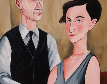 "Custom Wedding Portrait. Oil on Canvas. 20"" x 24"" Original Painting."