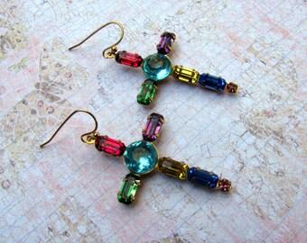 Rhinestone Cross Earrings, Cross Earrings, Vintage Earrings, Swarovski Earrings, Dangle Earrings, Rhinestone Earrings, Cross Jewelry