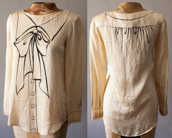 Ivory Silk Moschino Couture Blouse Trompe L 39 Oeil By