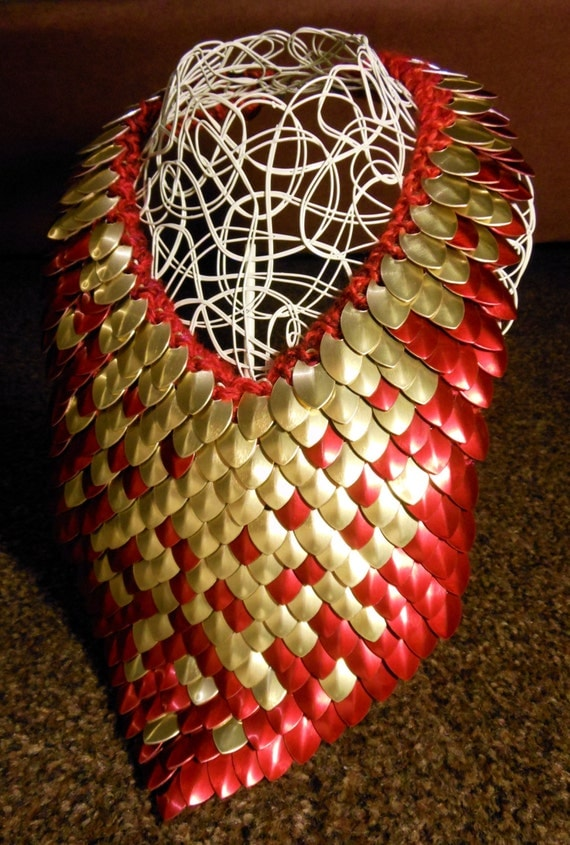 Knitting Pattern Dragon Scales : Knit Your Own Scale Mail Dragon Neck Piece with