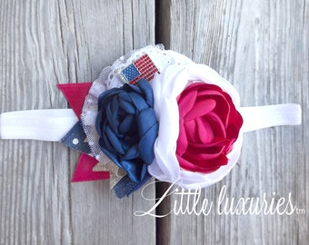 Stars & Stripes - Red, White, and Blue headband, bow, Patriotic Headband, American Flag Headband, 4th of July Headband, Independence Day Bow