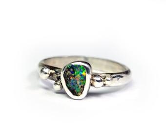 Opal Ring Bright Boulder Granulation Silver - Size 8