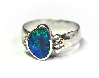 Blue Opal 14K Sterling Silver Textured Granulation Ring - Size 7 / Opal Ring / Natural Opal / Silversmith / Australian Opal / Yellow Gold /