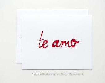 "Spanish Card "" Te Amo "" greeting card. I love you"